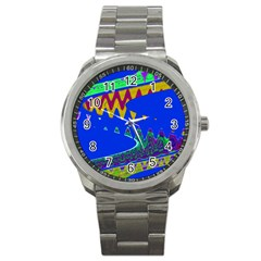 Colorful Wave Blue Abstract Sport Metal Watch