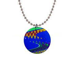 Colorful Wave Blue Abstract Button Necklaces