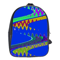 Colorful Wave Blue Abstract School Bags(Large)