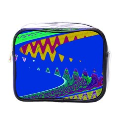 Colorful Wave Blue Abstract Mini Toiletries Bags