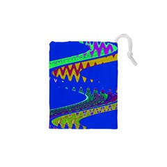 Colorful Wave Blue Abstract Drawstring Pouches (xs)
