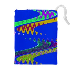 Colorful Wave Blue Abstract Drawstring Pouches (extra Large)