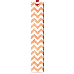 Tangerine Orange & White ZigZag pattern Large Book Mark