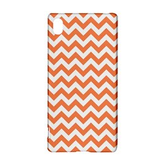 Tangerine Orange & White ZigZag pattern Sony Xperia Z3+ Hardshell Case