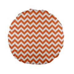 Tangerine Orange & White ZigZag pattern Standard 15  Premium Round Cushion