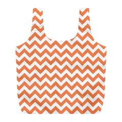 Tangerine Orange & White ZigZag pattern Full Print Recycle Bag (L)