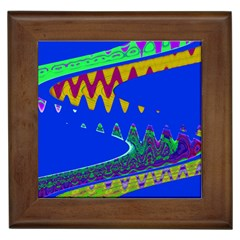 Colorful Wave Blue Abstract Framed Tiles