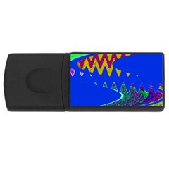 Colorful Wave Blue Abstract USB Flash Drive Rectangular (1 GB)