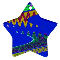 Colorful Wave Blue Abstract Star Ornament (Two Sides)