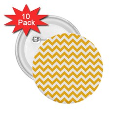 Sunny Yellow & White Zigzag Pattern 2 25  Button (10 Pack)