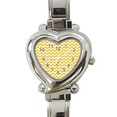 Sunny Yellow & White Zigzag Pattern Heart Italian Charm Watch