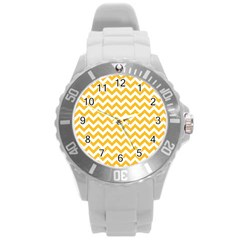 Sunny Yellow & White Zigzag Pattern Round Plastic Sport Watch (l)