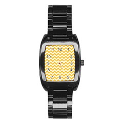 Sunny Yellow & White Zigzag Pattern Stainless Steel Barrel Watch