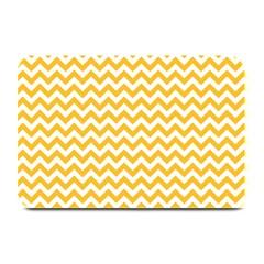 Sunny Yellow & White Zigzag Pattern Plate Mat