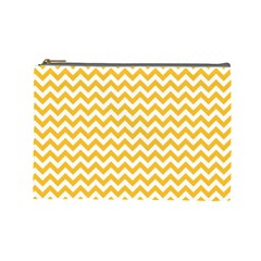 Sunny Yellow & White Zigzag Pattern Cosmetic Bag (Large)