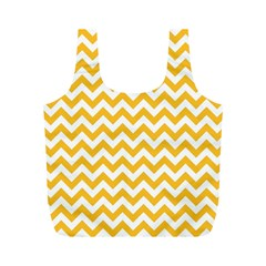 Sunny Yellow & White Zigzag Pattern Full Print Recycle Bag (m)