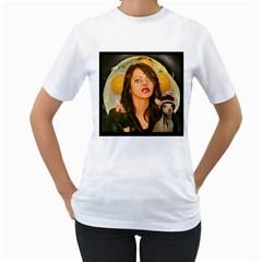 Rock Chick And Dog Eggs By Ignatius Rake Women s T-Shirt (White)