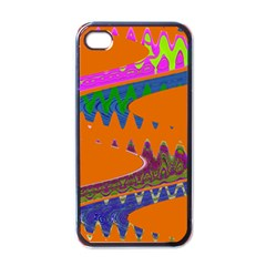 Colorful Wave Orange Abstract Apple iPhone 4 Case (Black)