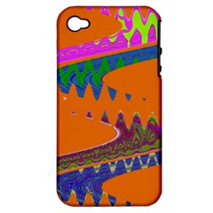 Colorful Wave Orange Abstract Apple iPhone 4/4S Hardshell Case (PC+Silicone)