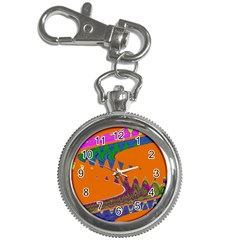 Colorful Wave Orange Abstract Key Chain Watches