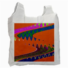 Colorful Wave Orange Abstract Recycle Bag (One Side)