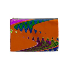 Colorful Wave Orange Abstract Cosmetic Bag (Medium)