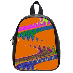 Colorful Wave Orange Abstract School Bags (Small)