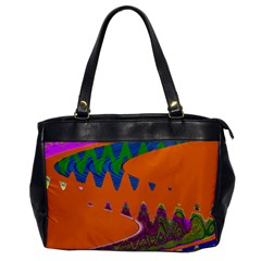 Colorful Wave Orange Abstract Office Handbags