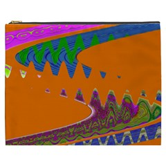 Colorful Wave Orange Abstract Cosmetic Bag (XXXL)