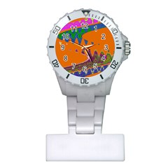 Colorful Wave Orange Abstract Plastic Nurses Watch