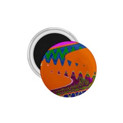 Colorful Wave Orange Abstract 1.75  Magnets