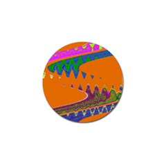 Colorful Wave Orange Abstract Golf Ball Marker (10 pack)