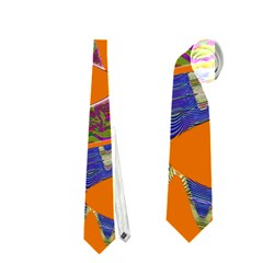 Colorful Wave Orange Abstract Neckties (one Side)