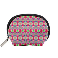 Pretty Pink Shapes Pattern Accessory Pouches (Small)