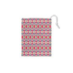 Pretty Pink Shapes Pattern Drawstring Pouches (XS)