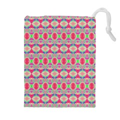 Pretty Pink Shapes Pattern Drawstring Pouches (Extra Large)