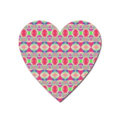 Pretty Pink Shapes Pattern Heart Magnet