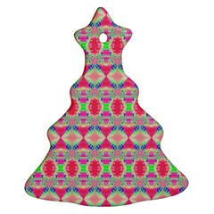 Pretty Pink Shapes Pattern Ornament (Christmas Tree)