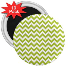 Spring Green & White Zigzag Pattern One Piece Boyleg Swimsuit 3  Magnet (10 pack)