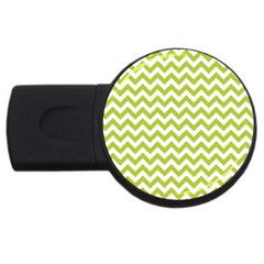 Spring Green & White Zigzag Pattern One Piece Boyleg Swimsuit Usb Flash Drive Round (4 Gb)