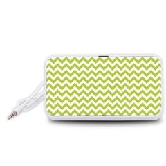 Spring Green & White Zigzag Pattern One Piece Boyleg Swimsuit Portable Speaker (White)