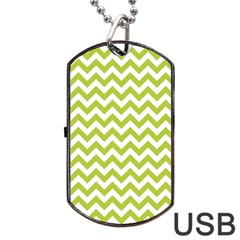 Spring Green & White Zigzag Pattern One Piece Boyleg Swimsuit Dog Tag Usb Flash (two Sides)