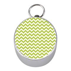 Spring Green & White Zigzag Pattern One Piece Boyleg Swimsuit Silver Compass (mini)
