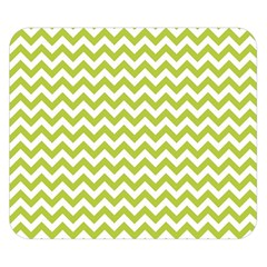 Spring Green & White Zigzag Pattern Double Sided Flano Blanket (small)