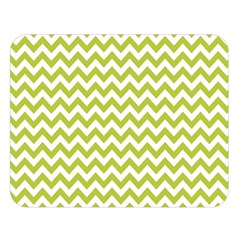 Spring Green & White Zigzag Pattern Double Sided Flano Blanket (Large)