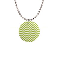 Spring Green & White Zigzag Pattern 1  Button Necklace