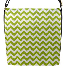Spring Green & White Zigzag Pattern Flap Closure Messenger Bag (s)