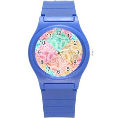 A Rose Is A Rose Round Plastic Sport Watch (S)