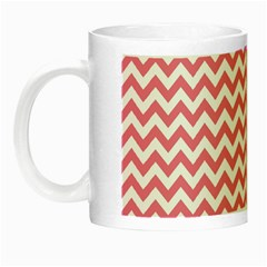 soft pink & White Zigzag Pattern Night Luminous Mug