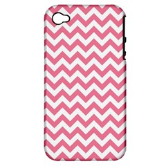 soft pink & White Zigzag Pattern Apple iPhone 4/4S Hardshell Case (PC+Silicone)